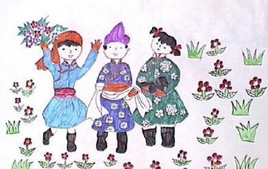 有哪些儿童画的藏族小朋友献哈达的画