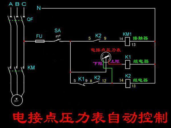 你好又要麻烦你了。在此先谢谢,有三项空开一个,单项空开两个,接触器一个,中间继电器52P的两个,电接点压力表一个,旋转开关一个,问题使补水泵补水。以上电器都用上,不能添别的,也不能少用。合开关就补水,不和开关电接点压力表补水吗??我只知道合旋转开关补水。求你原理图和接线图到电接点压力表时接线详细点标注