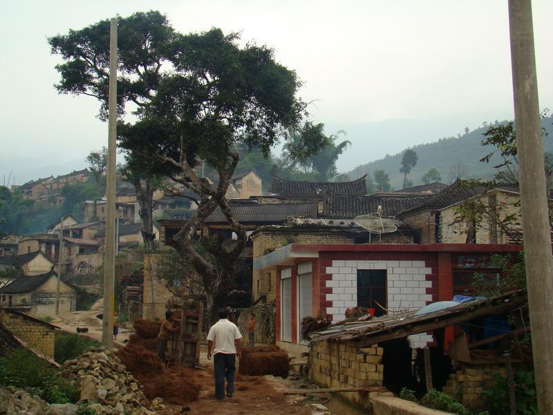 手绘动漫雨天的村庄