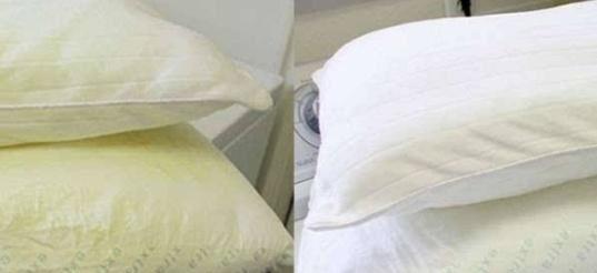 枕头用久了又脏又黄难清洗?在热水中加点它