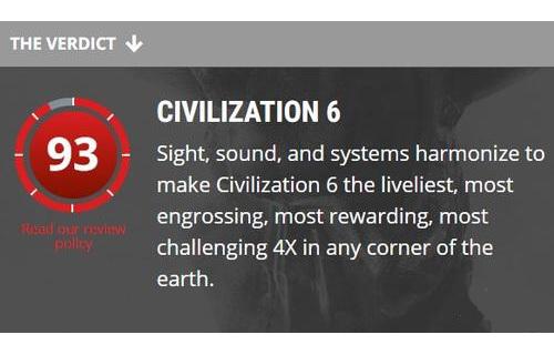 《文明6》首个媒体评分新鲜出炉