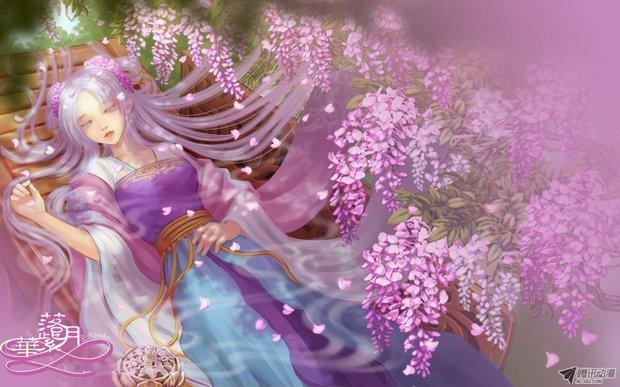 古风美女手绘 紫衣
