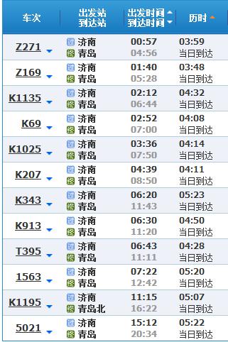 杭州到青岛除了高铁,还有没有别的班次的火车