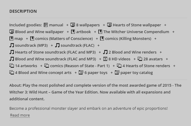《巫师3》年度版上架售卖网站GOG