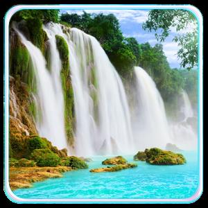 沙发山水风景带瀑布