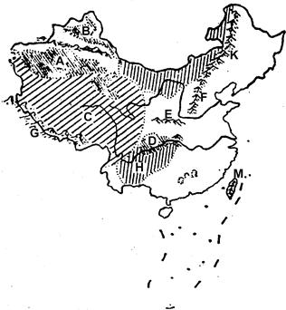 """读""""中国部分地形区分布图"""",完成下列问题: (1)将图中字母代号所代表的"""