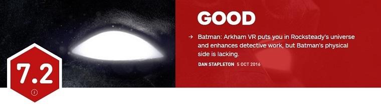 《蝙蝠侠VR》IGN评分